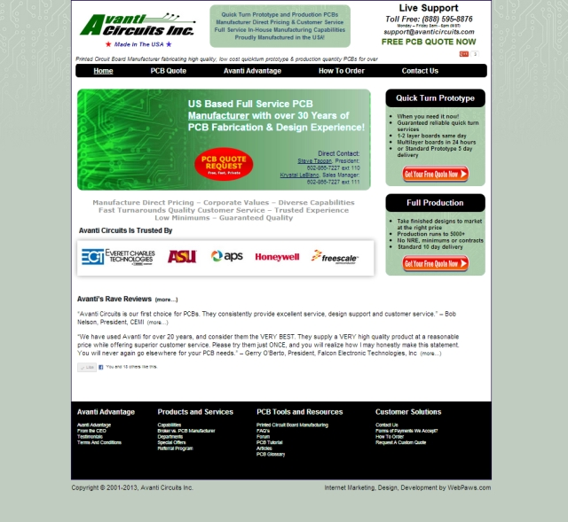 Avanti Circuits -  Website Marketed, Developed and Maintained by WebPaws.com