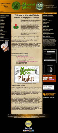 Magickal Winds Website Designed, Marketed and Maintained by WebPaws.com