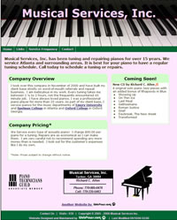 Musical Services, Inc. - Piano Tuning and Repair company.  Website Designed and Maintained by WebPaws.com