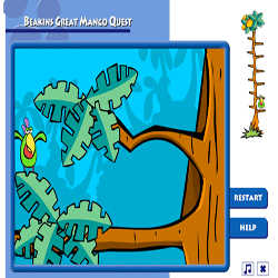 Beakin's Great Mango Quest played 861 times to date.  Help Beakins climg to the top of the tree to reach the Worlds largest mango