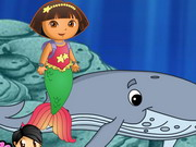Dora Mermaid Activities played 1,096 times to date.  Dora turns herself into a mermaid. Now she can swim like a fish and can go undersea.  Help her perform and complete various tasks undersea