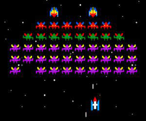 Galaxians played 411 times to date.  You are controlling a space ship, trying to avoid being hit while shooting down enemy alien ships
