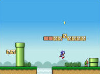 Sonic Lost in Mario World played 4,300 times to date.  Play as Sonic the Hedgehog in the Mushroom Kingdom