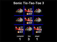 Sonic Tic Tac Toe 3 played 1,040 times to date.  Cool Sonic Tic-Tac-Toe Game.  You can play against the computer or with a friend in 2-player mode.